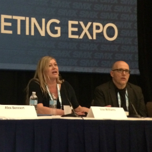 Lisa Williams and Mark Munroe on stage at SMX West