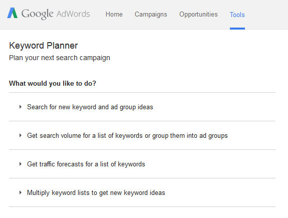 adwords keyword planner start