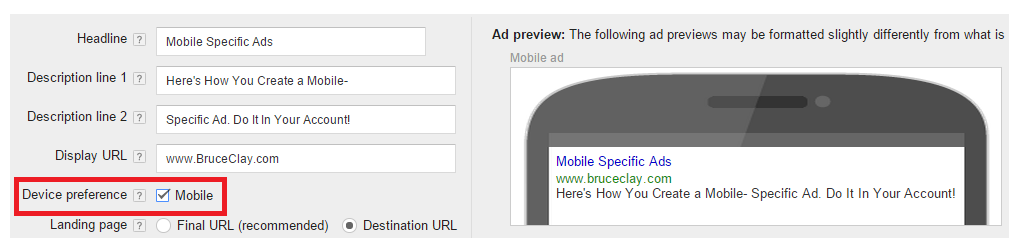 mobile specific Ad in AdWords