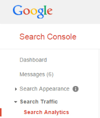 Search Console menu