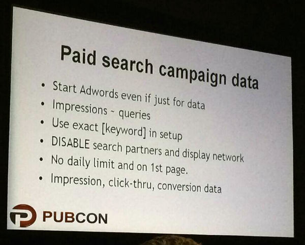 Paid search campaign data