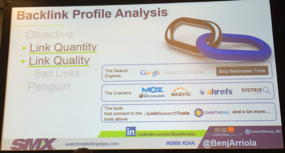 Backlink analysis tools slide