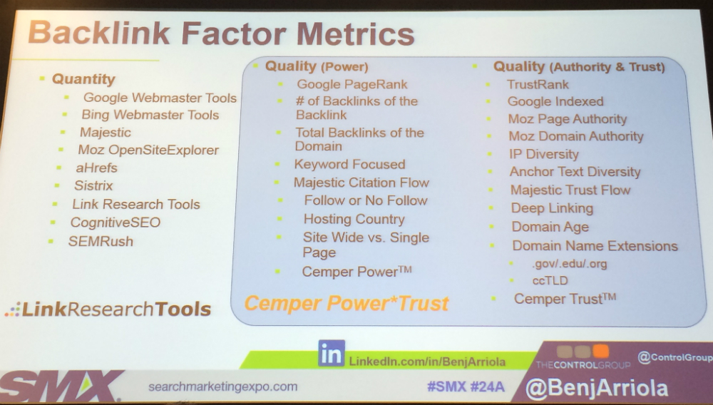 Backlink factor metrics slide