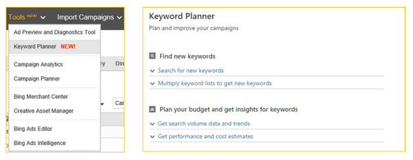 Bing Ads new Keyword Planner