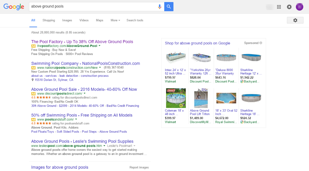 Google Removing Right Side Ads - above ground pools serp 2
