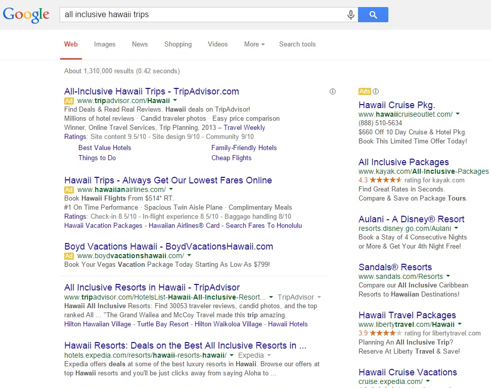 Google Removing Right Side Ads - all inclusive hawaii trip serp