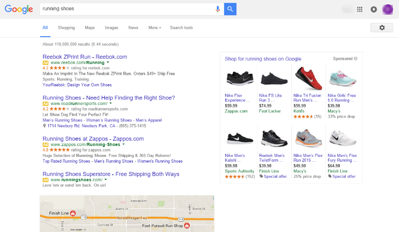 Google Removing Right Side Ads - running shoes serp 2