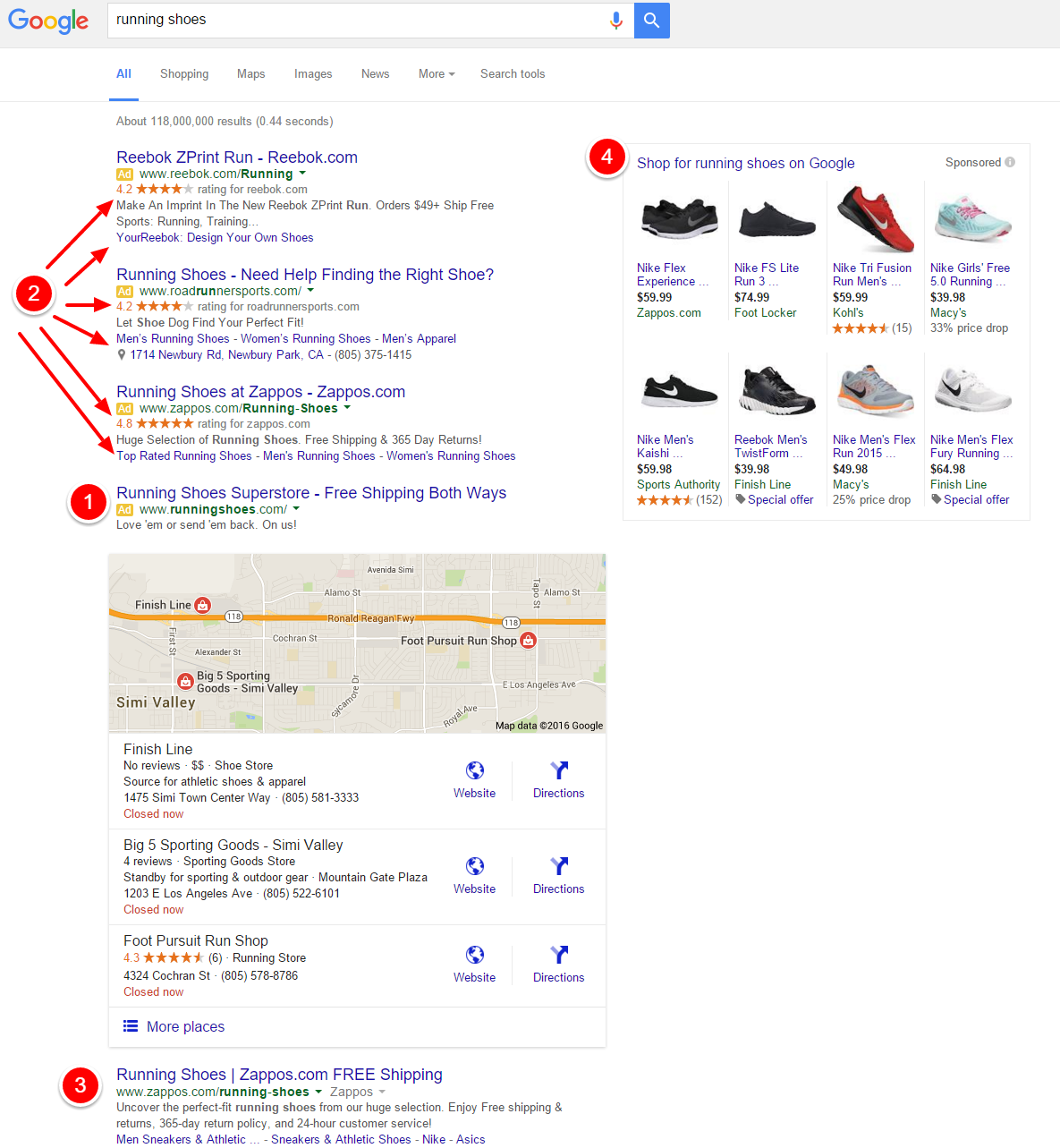 Google Removing Right Side Ads - running shoes serp