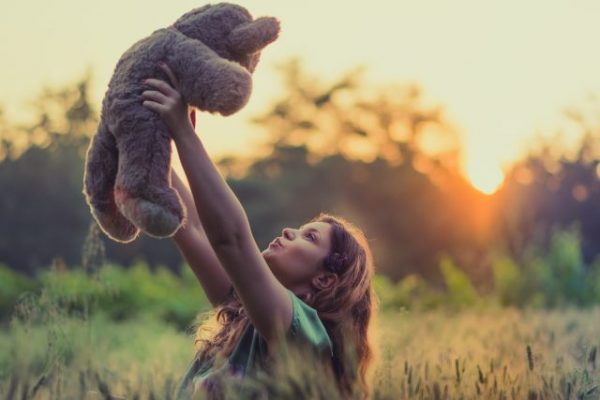 teddy bear and girl