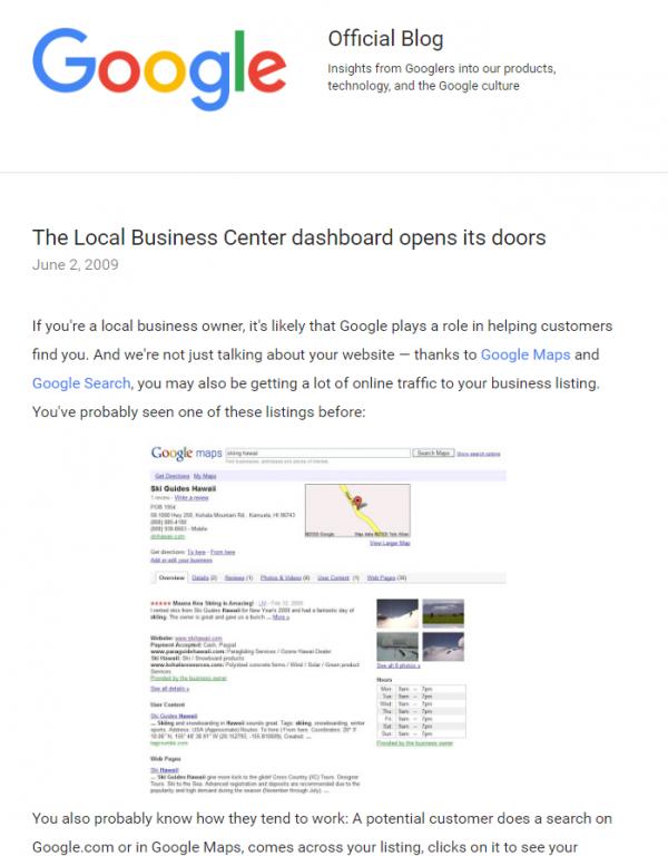 google blog on local dashboard