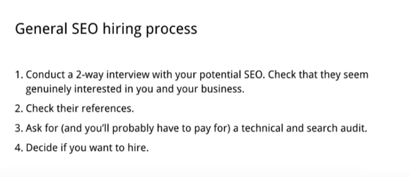 General SEO hiring process