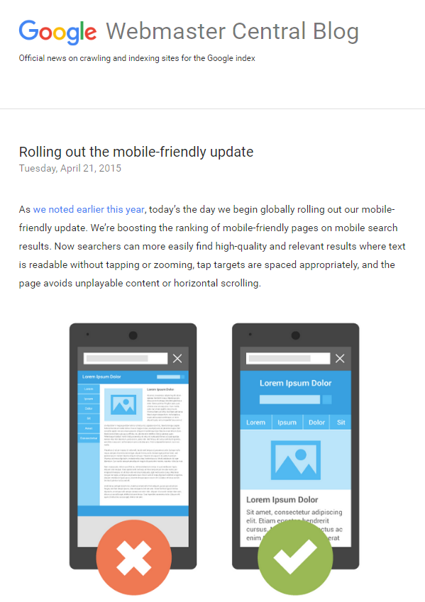google blog post on mobile-friendly update