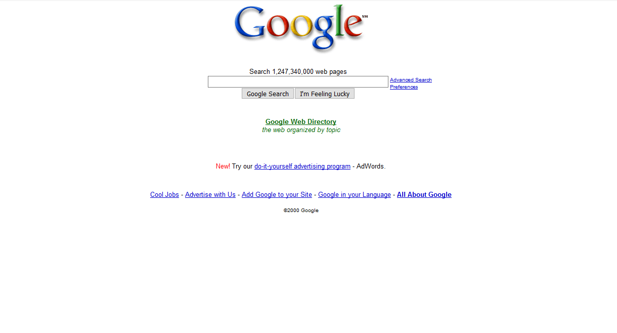 Google home page in 2001