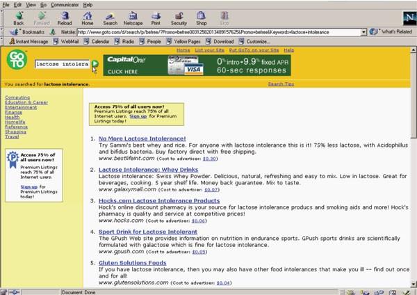 Goto.com Search Results in 2001