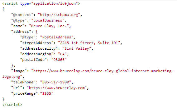 Local business schema markup example