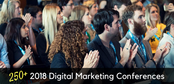 digital marketing conference attendees clapping