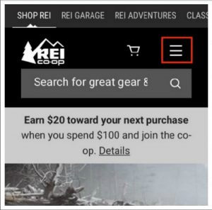 REI mobile site menu icon