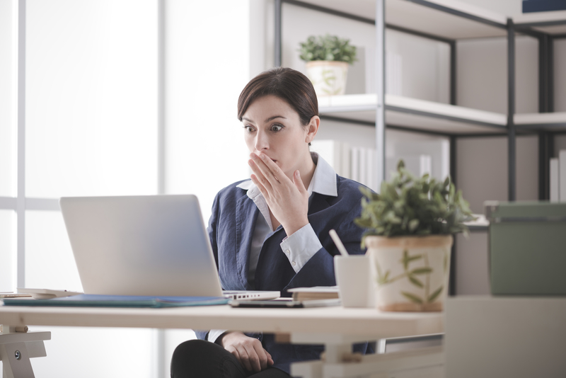 business woman realizes SEO blunder