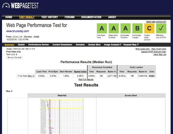 WebPageTest.org audit tool screen shot