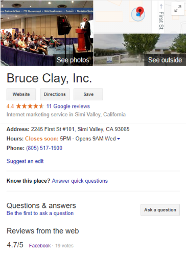 Knowledge Graph box for Bruce Clay, Inc.