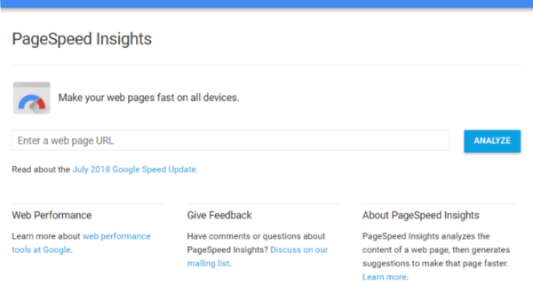 Google PageSpeed Insights tool