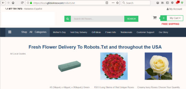 SEO fail on a flower site