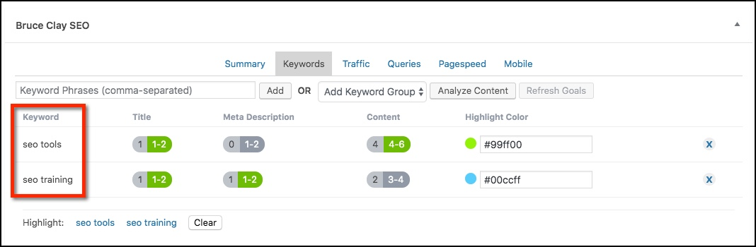 Keywords tab in Bruce Clay SEO plugin