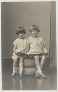 Author Elizabeth Jolley and (younger) sister Madelaine Winifred in the garden, 1927.