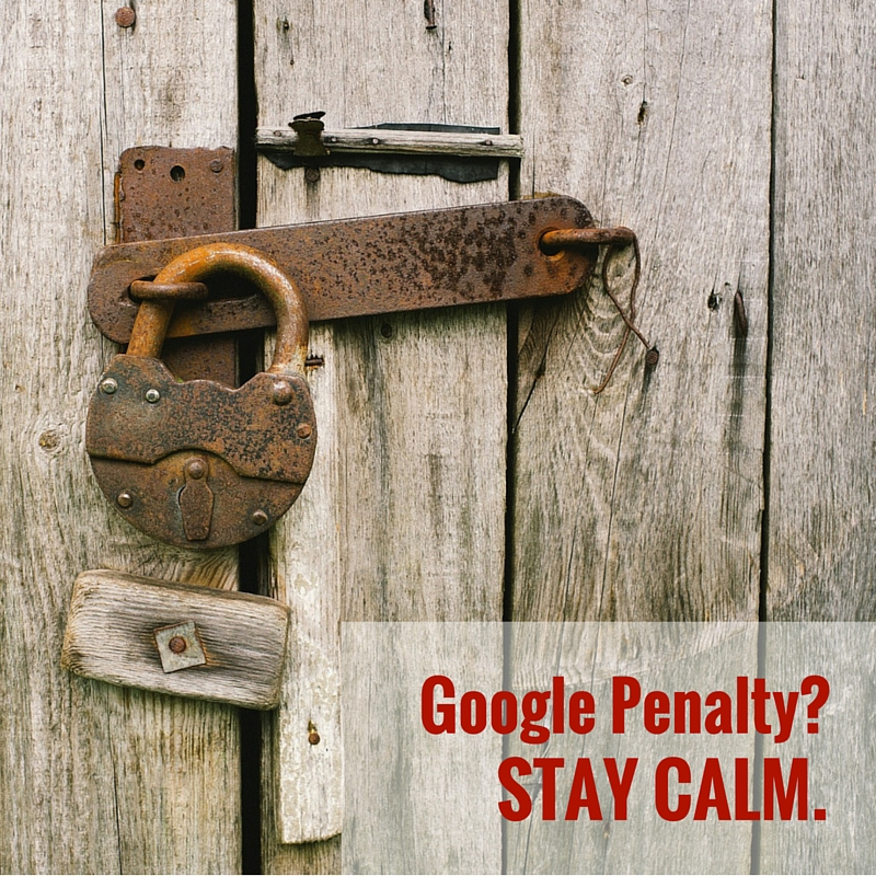 padlocked gate - stay calm message