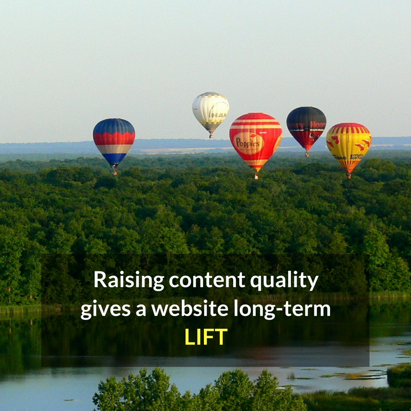 Raising content quality gives a website lift