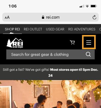 REI mobile menu icon.