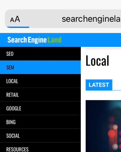 Mobile menu color-change touch feedback on SearchEngineLand.com.