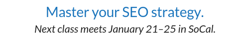 Next SEO Training date banner