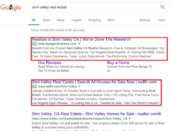 Google results with SEM ads