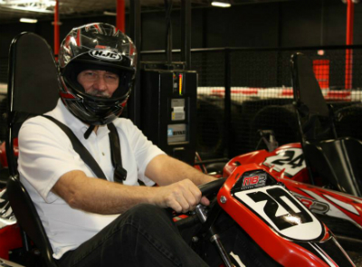 Bruce Clay in a go-kart