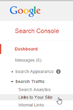 Google Search Console links menu