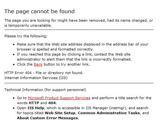 standard 404 error
