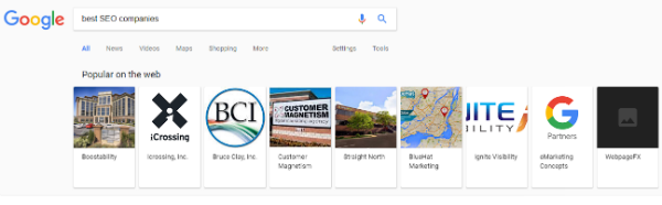 best seo companies - Google results carousel