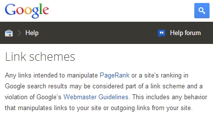 Google definition of link schemes