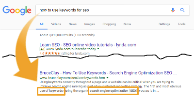 Bolded keywords in search results