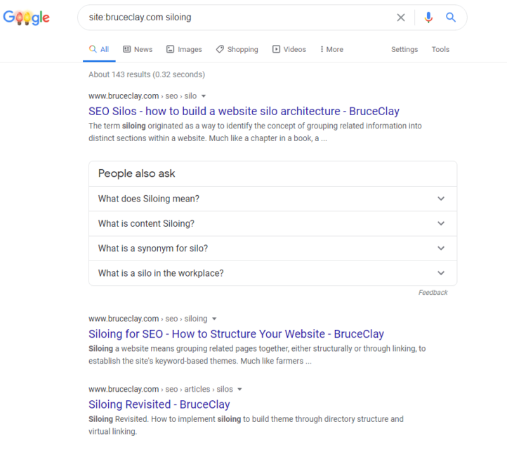 Example Google site: search results page.