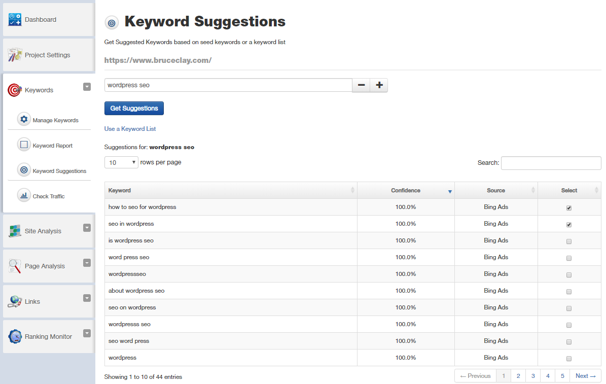 Keyword Suggestions tool in SEOToolSet