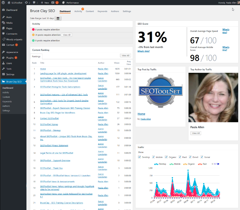 Bruce Clay SEO plugin dashboard
