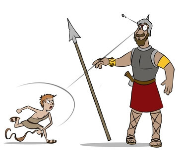 David defeating Goliath illustration.