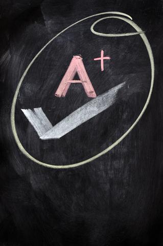 Grade A+ drawn in chalk.