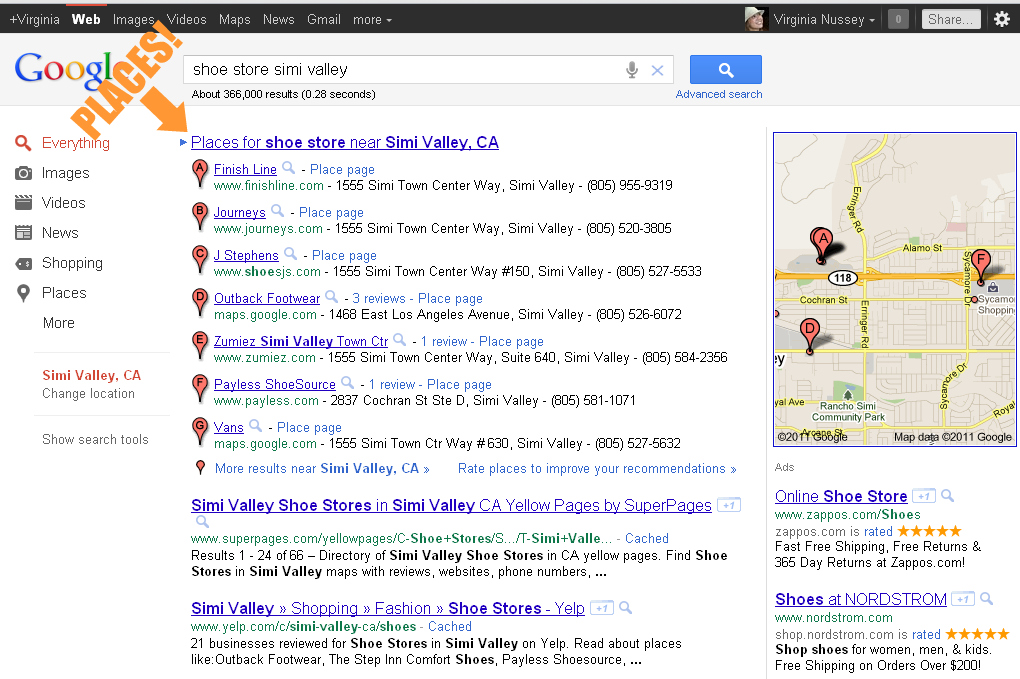 Google Places in search results