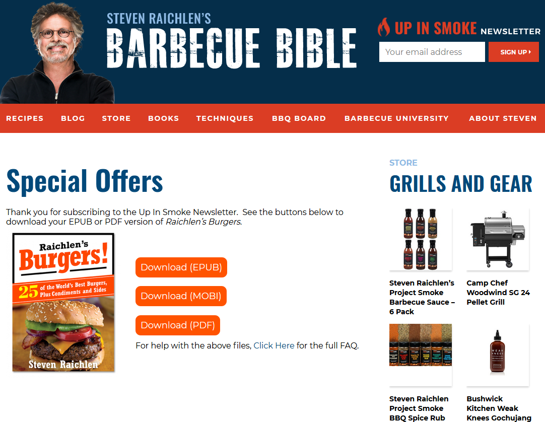 Barbecue Bible confirmation page.