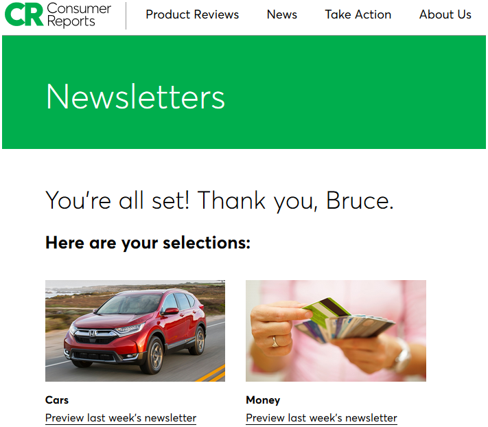 Consumer Reports newsletter thank-you page.