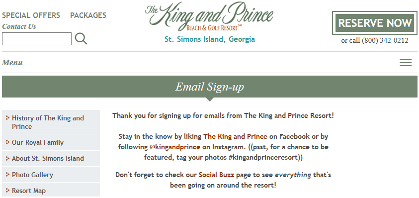 King and Prince email signup.