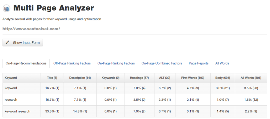 Multi Page Analyzer.